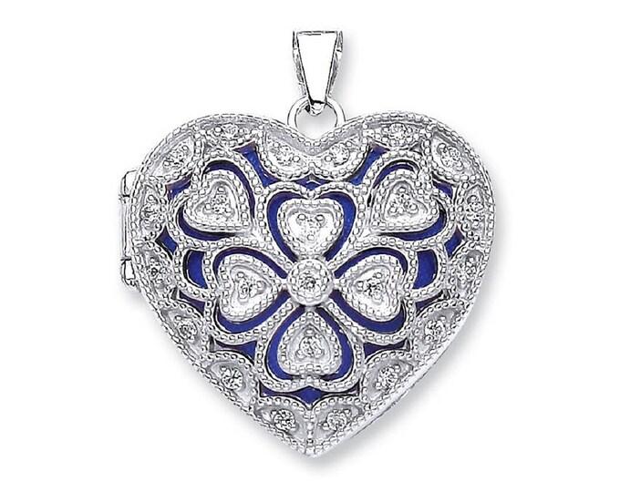 Vintage Filigree Design Sterling Silver Cz Heart Shaped 2 Photo Locket