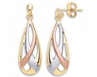 9ct 3 Colour Yellow Rose White Gold Teardrop Ribbon Earrings