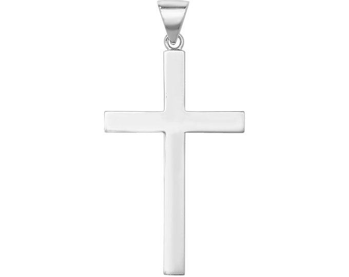 Large 925 Sterling Silver 5.5cm Plain Polished Flat Cross Pendant 10.2g Hallmarked