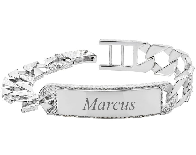 """Men's 925 Sterling Silver 8"""" Cast 12mm Flat Curb Chain ID Bracelet 30g - Engraved Name"""