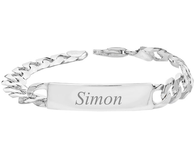 "Men's Personalised 925 Sterling Silver 8"" ID Curb Chain Bracelet 29g - Engraved Name"