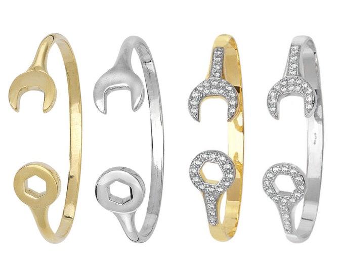 9ct Gold Babies Spanner Design Torque Bangle Hallmarked - Plain or Stone Set