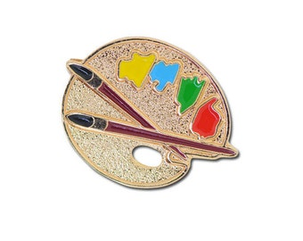 Gold Plated Artist Palette & Brushes Brooch Badge Enamel Colour Paint 22x12mm
