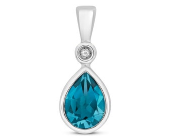 9ct White Gold & Diamond 7x5mm Pear Cut London Blue Topaz Pendant