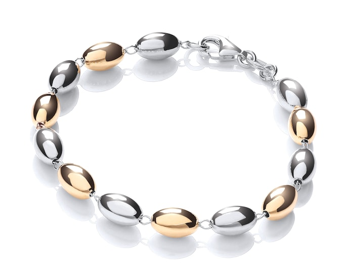 "Two Colour Gold Plated & Silver Oval Beaded 7"" Link Bracelet"