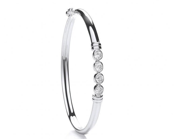 925 Sterling Silver 4 Stone White Brilliant Cut Cz Hinged Baby Bangle