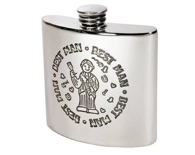 Personalised 4oz Kidney Shaped Pewter Best Man Hip Flask Engraved Message