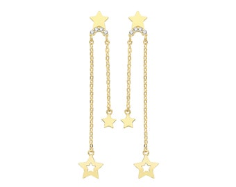 9ct Yellow Gold Constellation Cz Stars Tassel Chain 3.5cm Drop Earrings - Real 9K Gold