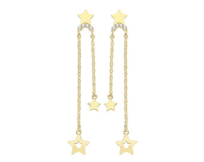 9ct Yellow Gold Constellation Cz Stars Tassel Chain 2.5cm Drop Earrings