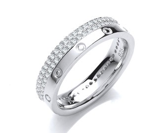 925 Sterling Silver Two Row Micro Pave Full Edge Eternity Cz Ring