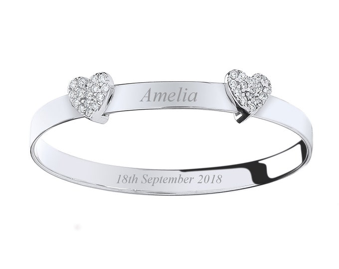 Sterling Silver Double Heart Pave Cz Baby Bangle - Personalised Engraved Name/Message