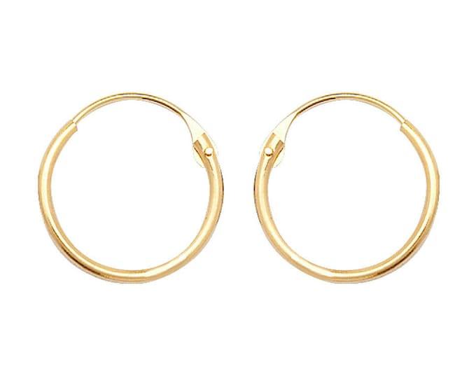 9ct Yellow Gold 9mm Diameter Hinged Threader Sleeper Hoop Earrings