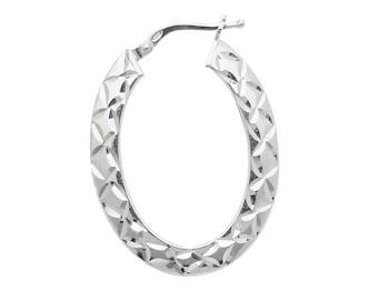 Pair of Sterling Silver Diamond Cut Design Oval Hoop Earrings 25x20mm
