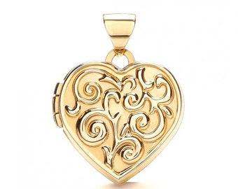 9ct Yellow Gold Small Heart Shaped 2 Photo Scroll Embossed Locket