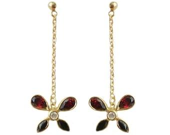 Gold on Sterling Silver Pear Cut Real Garnet 4.5cm Butterfly Drop Earrings