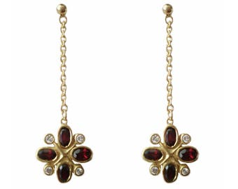 Gold on Sterling Silver Flower Drop Earrings with Oval Red Garnets & Cz Stones