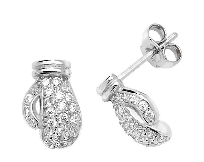 925 Sterling Silver Pave Cz 10mm Boxing Glove Stud Earrings