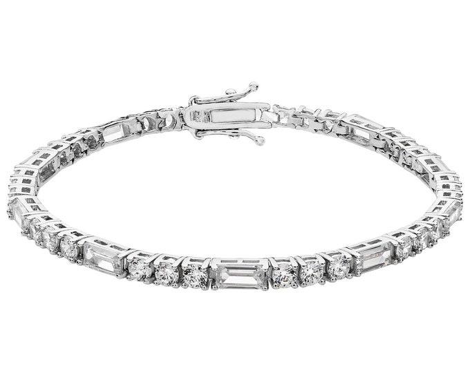 """Ladies 925 Sterling Silver Baguette & Round Cz 7"""" Tennis Bracelet Hallmarked"""