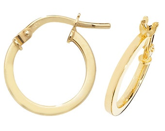 9ct Yellow Gold Plain Flat Tube Hoop Earrings 10mm 15mm 20mm 25mm 30mm 40mm 50mm