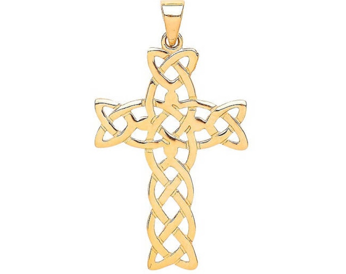 9ct Yellow Gold Flat Cut Out Celtic Knot Design Crucifix Cross Pendant Hallmarked