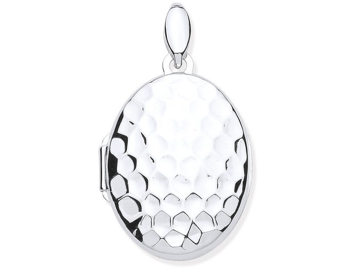 Sterling Silver Golf Ball Print Oval Shaped 2 Photo Hammered Locket 3x1.7cm