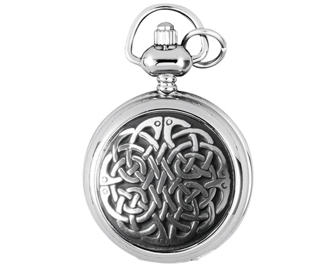 "Ladies 29mm Celtic Knot Half Hunter Fob Watch Pendant With 28"" Chain Necklace"