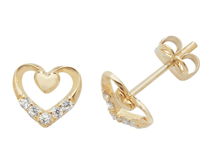 9ct Yellow Gold 5mm Heart on Heart Stud Earrings Set With Cz Stones