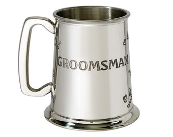 Personalised Groomsman 1 Pint Pewter Tankard Engraved Customised Message