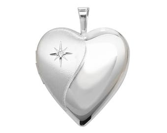 Sterling Silver Single Diamond Wave Design Heart Shaped 2 Photo Locket 1.8cm Personalised