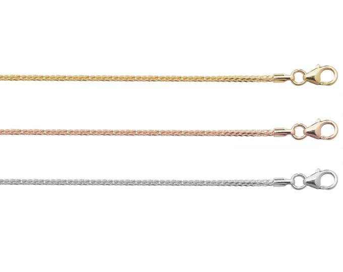 """Spiga Chains 9ct Yellow Rose or White Gold 1.5mm  16"""" 18"""" 20"""" 22"""" 24"""" Hallmarked"""