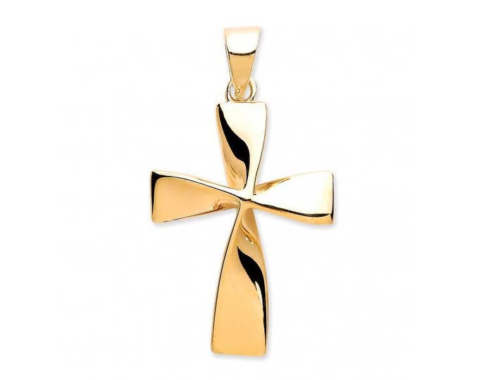9ct Yellow Gold Modern Twisted Plain Cross Pendant 18x15mm - Real 9K Gold