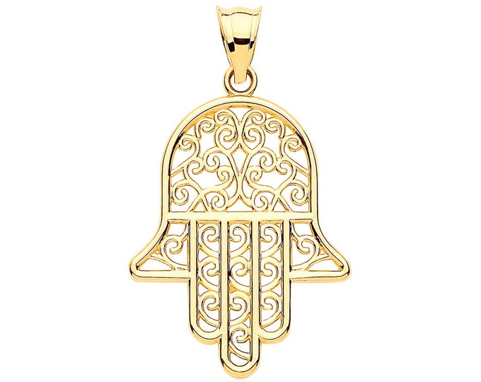 9ct Yellow Gold 3cm Filigree Scroll Design Hamsa Hand Charm Pendant - Real 9K Gold