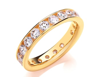 Yellow Gold on Sterling Silver 4mm Full Channel Set Cz Eternity Ring