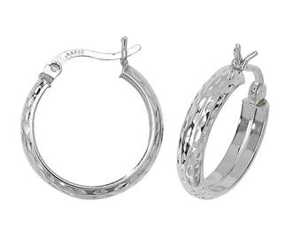 Pair of Sterling Silver Diamond Cut D-Shaped Hoop Earrings - Choice of sizes