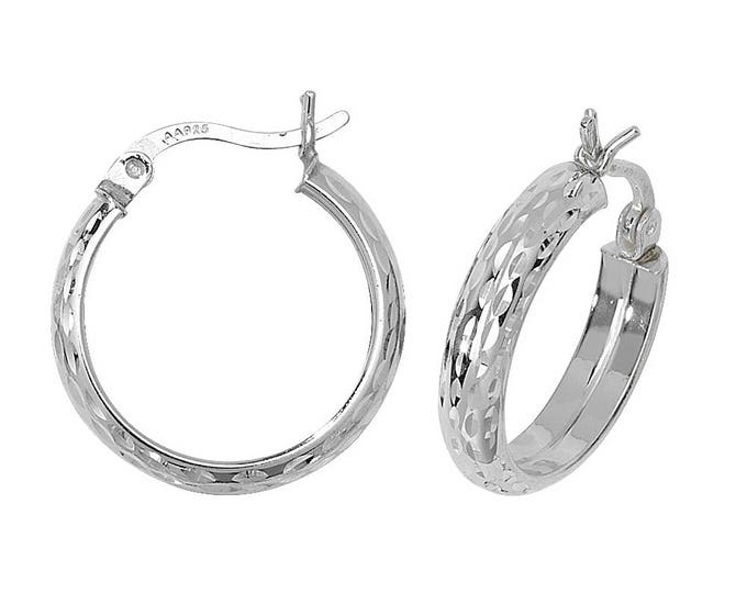 Pair of Sterling Silver Diamond Cut D-Shaped Hoop Earrings - Choice of sizes