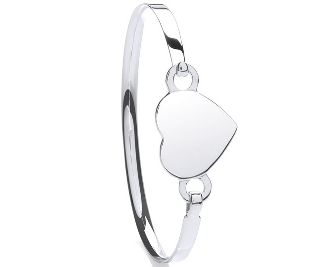 Girls 925 Sterling Silver Heart Tag Charm Identity Bangle
