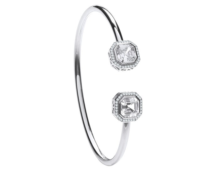 925 Silver Octagonal Cut Cz Halo Set Torque 3mm Tube Hollow Bangle