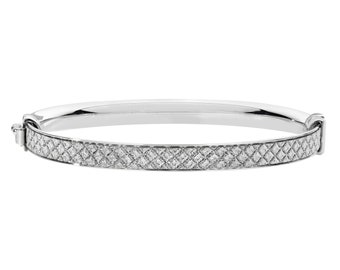 925 Sterling Silver Diamond Pattern Stardust 4mm Hinged Baby Bangle