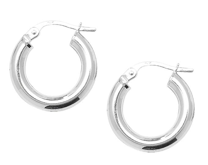 925 Sterling Silver Chunky 10mm Diameter 3mm Hollow Tube Hoop Earrings Boxed