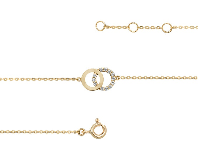 """Ladies 9ct Yellow Gold Cz Circle of Life Link 7.25"""" Fine Lightweight Chain Bracelet - Real 9K Gold"""