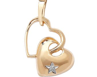 9ct Yellow Gold Double Heart Pendant With Single Star Set Diamond Hallmarked - Real 9K Gold