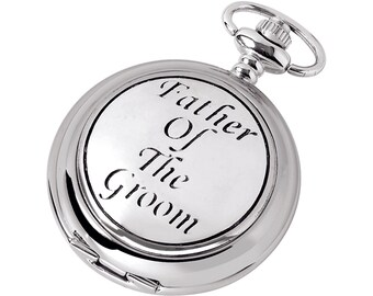 Father of The Groom Full Hunter Chrome & Pewter Pocket Watch - Personalised Engraved Message
