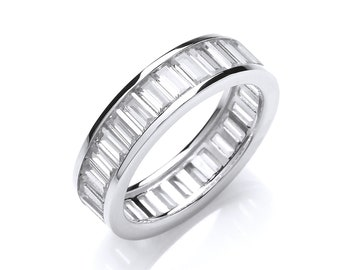 925 Sterling Silver Channel Set Full Eternity Baguette Cut Cz Ring