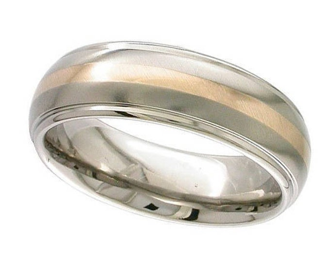 Titanium Domed Wedding Ring Inlaid With 18ct Rose Gold Stripe Polished Edges - Made to Order - FREE ENGRAVING