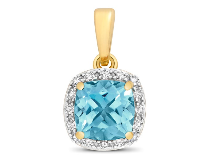 9ct Yellow Gold 0.08ct Diamond 6mm Cushion Cut Swiss Blue Topaz Pendant