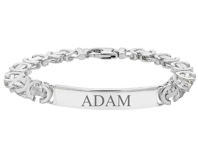 "Men's 925 Sterling Silver 8"" ID Byzantine 8mm Chain Bracelet 30g - Engraved Name"