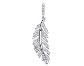 9ct White Gold Vintage Design 0.30ct Pave Set Diamond Feather Pendant