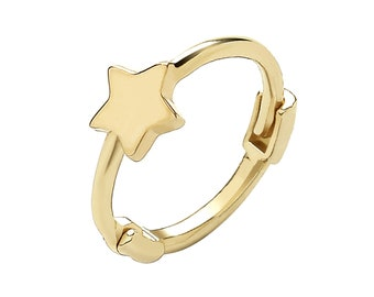 Single 9ct Yellow Gold Plain Star 7.5mm Diameter Hinged Cartilage Hoop Earring - Real 9K Gold