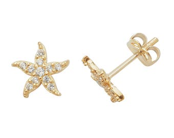 SINGLE 9ct Yellow Gold 6mm Cz Starfish Stud Earring