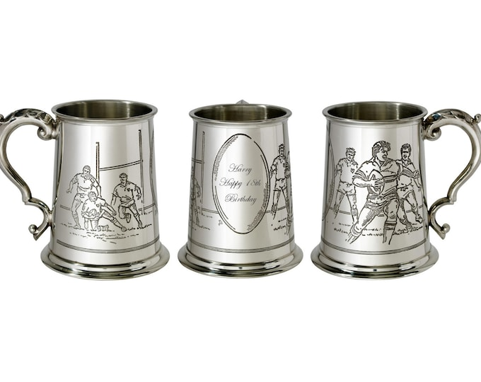 Personalised Rugby Scene 1 Pint Pewter Tankard Customised Engraved Message